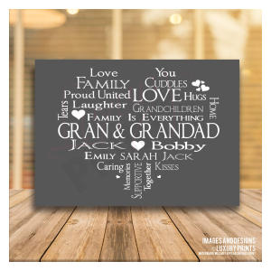 Mum & Dad Love Gift Word Print