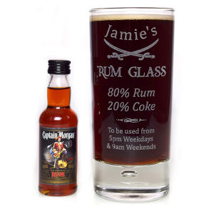 Personalised Highball Glass And Miniature Rum