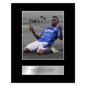 Alfredo Morelos Signed Mounted Photo