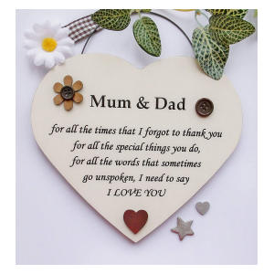Mum and Dad Heart Plaque