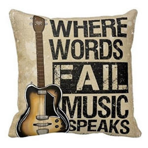 Music Speaks Quote Pillow Case
