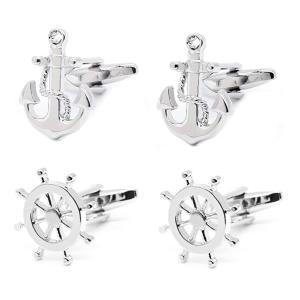 Nautical Anchor and Ship Wheel Cufflinks