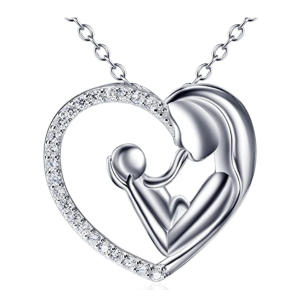 Mother and Child Love Heart Pendant