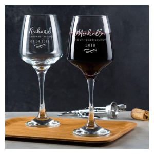 Personalised Retirement Wine Glasses