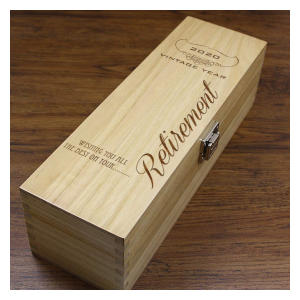Personalised Retirement Wooden Wine Box