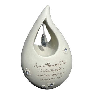 Mum And Dad Diamante Tear Drop Graveside Ornament