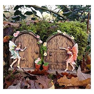 2 Sparkle Fairy Door Garden Ornament