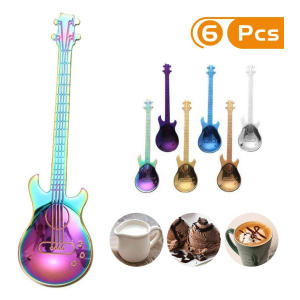 Set of 6 Guitar Tea Spoons