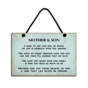 Mother and Son Handmade Plaque