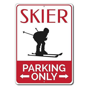 Novelty Skier Parking Sign