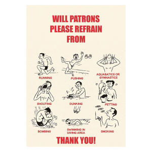 Retro Swimming Pool Rules Sign