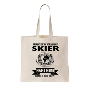 Skier Personalised Tote Bag