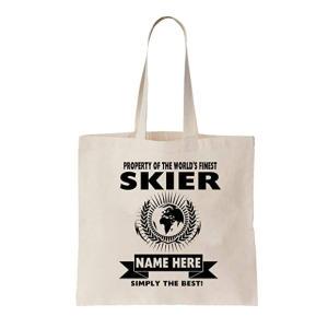 Skier Personalised Tote Bag