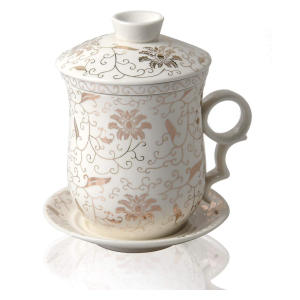 Porcelain Loose Leaf Tea Brewing Ceramic Mug