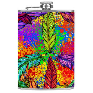 Coloured Feathers Hip Flask