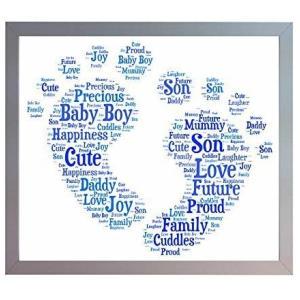 Framed New Baby Boy Footprint