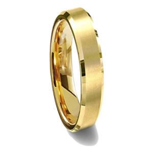 Gold Comfort-Fit Beveled Ring