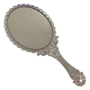 Vintage Repousse Floral Hand Held Mirror