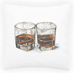 Whiskey Hand Drawing Decorative Pillow