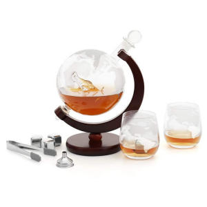 World Etched Globe Decanter
