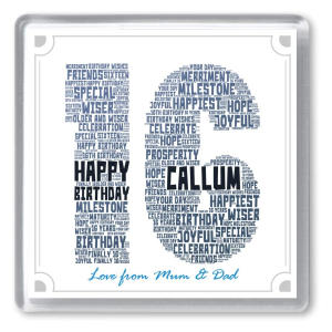 16th Birthday Personalised Word Art Drinks Coaster