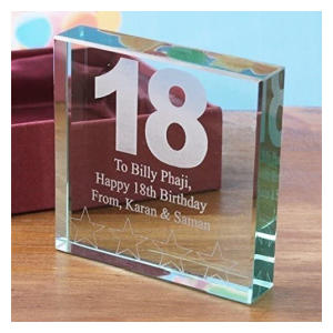 18th Birthday Square Glass Keepsake