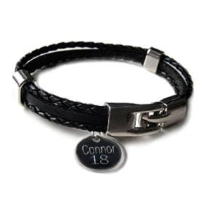 Black Leather Clasp Bracelet