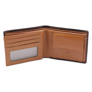 Blocking Leather Coin Pocket Wallet Brown Tan