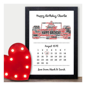 Formula One F1 Racing Car Personalised 16th Birthday Calendar