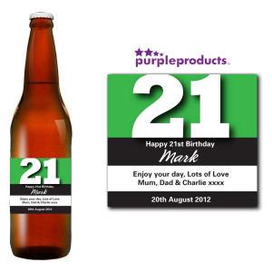 Green 21st Birthday Beer Bottle Label