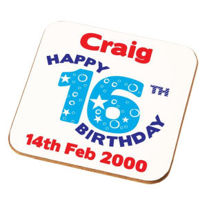 Happy 16th Birthday Personalised Coaster