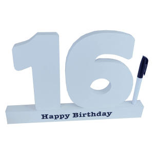 Happy 16th Birthday Personalised Wooden Signature Number