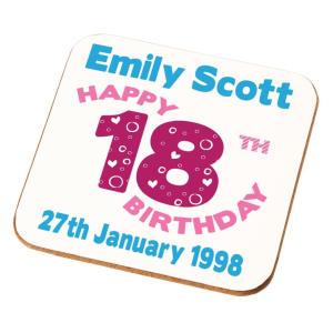 Happy 18th Birthday Personalised Coaster