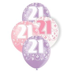 Latex Glitz Pink 21st Birthday Balloons
