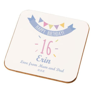 Personalised 16th Birthday Coaster