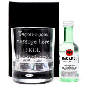 Bubble Based Glass Tumbler & Miniature Bottle of Rum