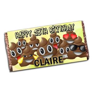 Personalised Emoji Poo Chocolate Bar