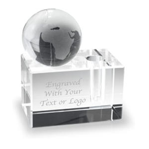Personalised Paperweight With Globe and Pen Holder