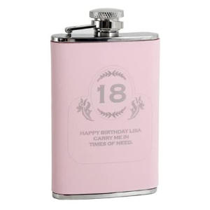 Pink Stainless Steel Big Age Hipflask