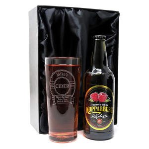 Pint Glass & Bottle of Cider