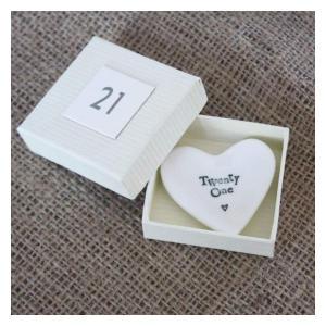 Twenty One White Porcelain Heart Dish Gift