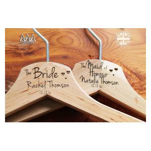 5 Personalised Hearts Bridal Wedding Hanger
