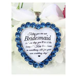 Bridesmaid Bouquet Charm In Cornflower Blue Diamanté