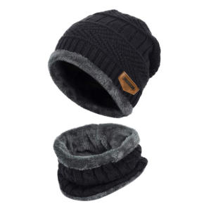 Knitted Beanie Hat and Circle Scarf Set