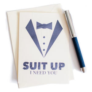 Pack Of 4 Suit Up I Need You Cards to Best Man