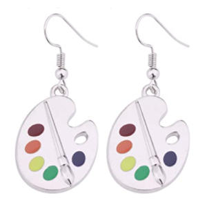 Paint Palette and Brush Drop Earrings