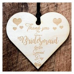 Wooden Hanging Heart Wedding Plaque