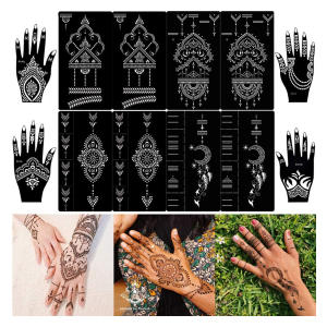 16 Henna Tattoo Stencils Set