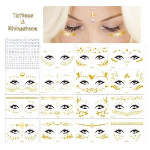 16 Sheets Face Tattoos Set