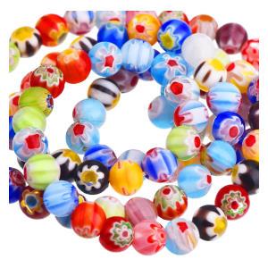 200 Pieces Millefiori Glass Round Beads